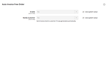 Auto Invoice Free Product Magento 2 Extension Settings
