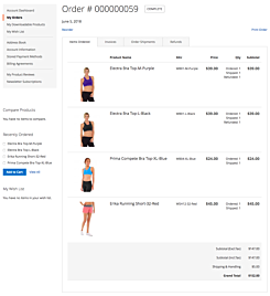 Magento 2 Order in Customer Account with images