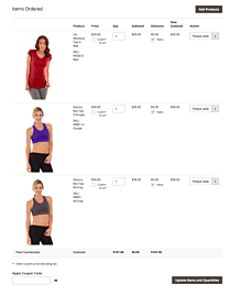 Magento 2 order create page selected products with images