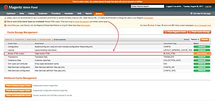 Magento 1 invalid cache list