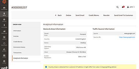 Magento 2 Order Analytics Information | Browser, Device Used etc