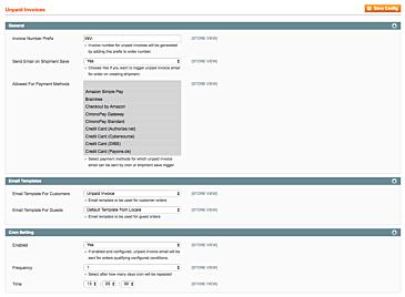 Magento 1 Unpaid Invoices Settings