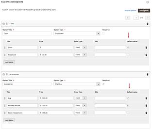 Custom Option Default Value Backend Magento 2