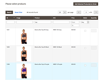 Magento 2 order creation page product search with images