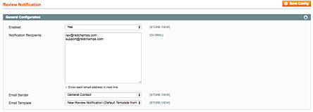 Magento 1 New Review Email Notification Settings