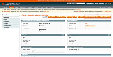 Magento 1 Unpaid Invoices Action Buttons
