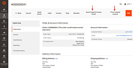 Magento 2 Unpaid Invoices Action Buttons