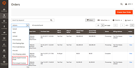 Magento 2 Unpaid Invoices Mass Actions