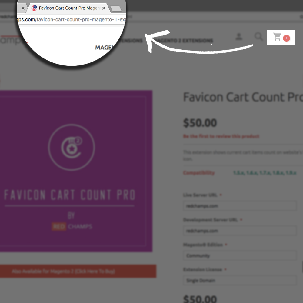 Favicon cart count Magento extension