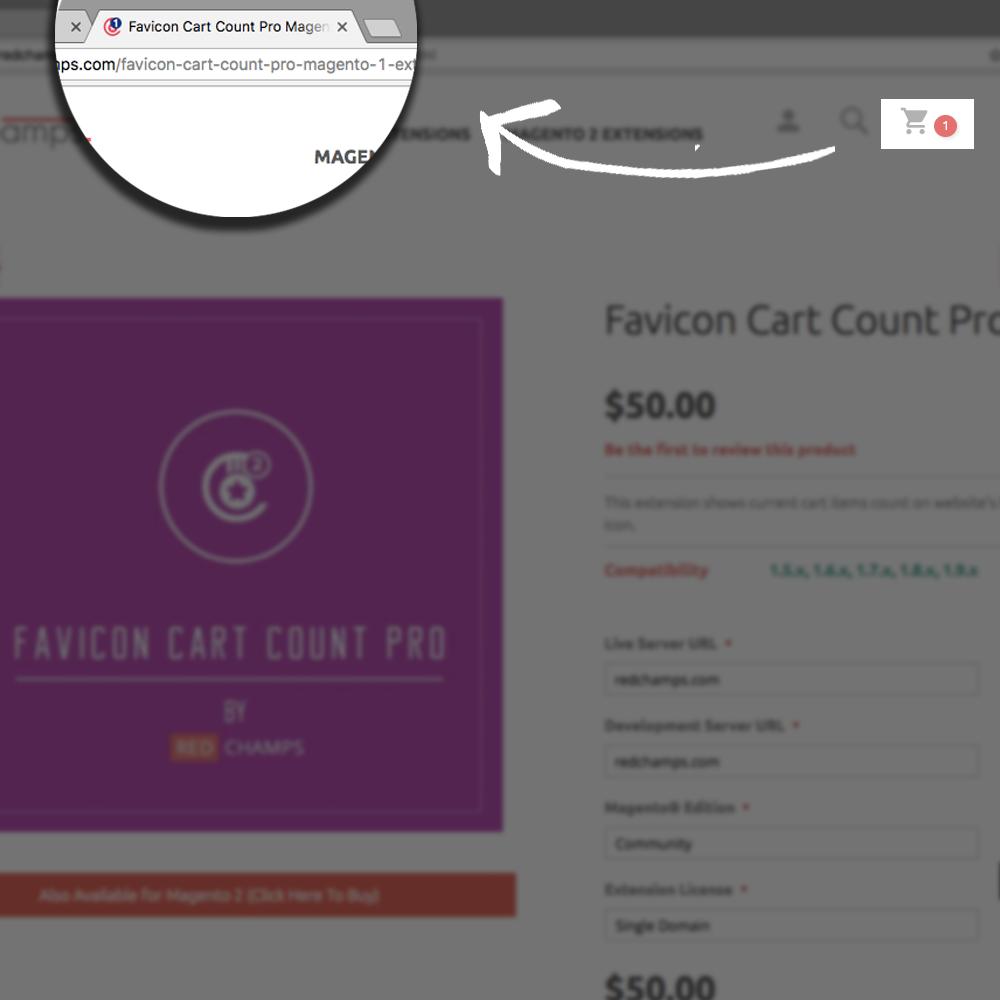 Favicon cart count Magento extension