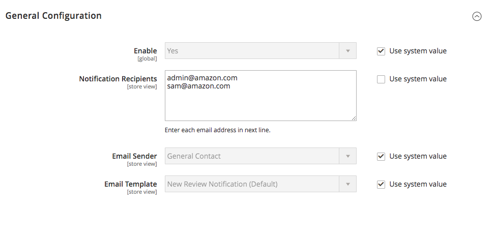New Review Email Notification Settings Magento 2
