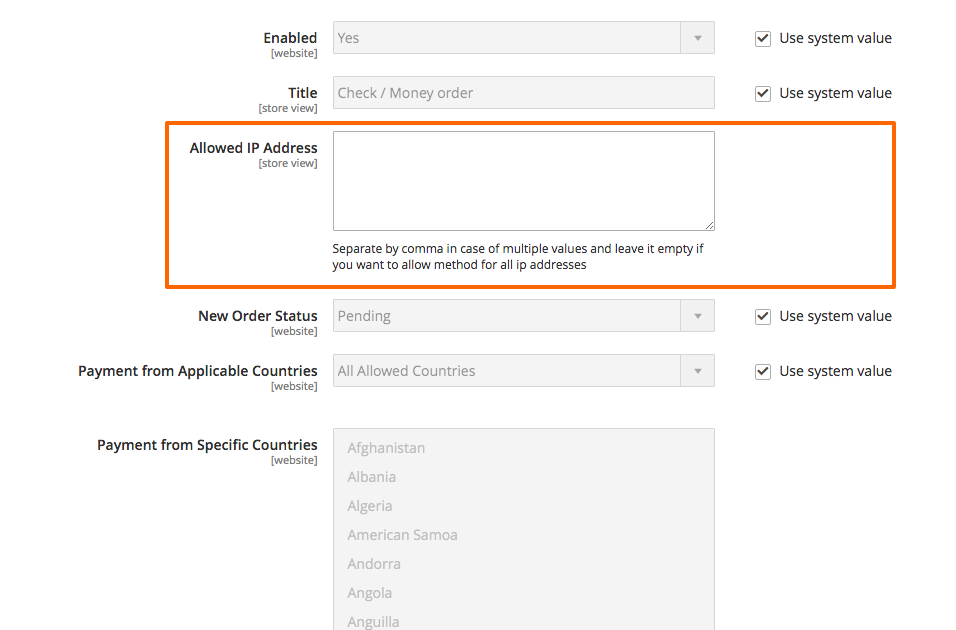 Magento extension for IP Based Payment Methods Activation