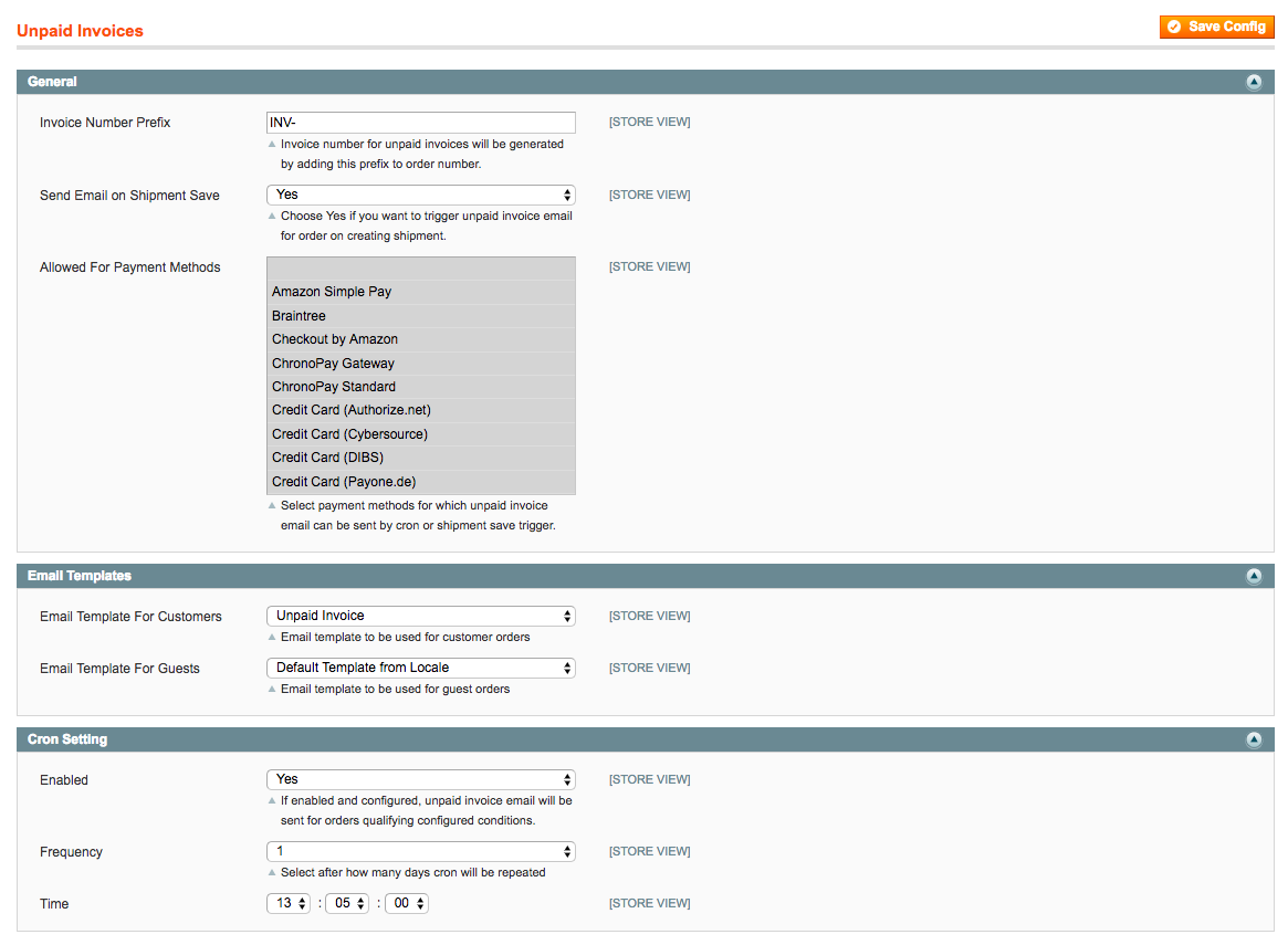 Magento 1 Unpaid Invoices Settings