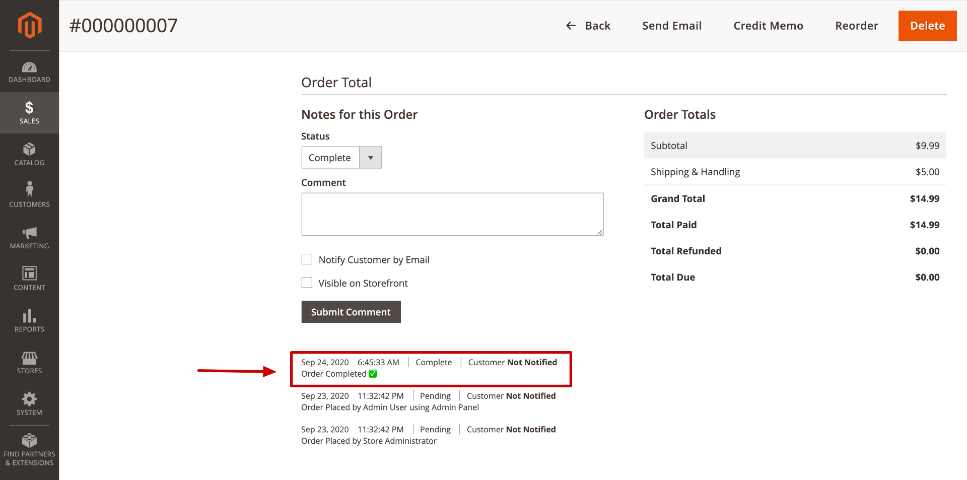 Magento Order Complete History Comment