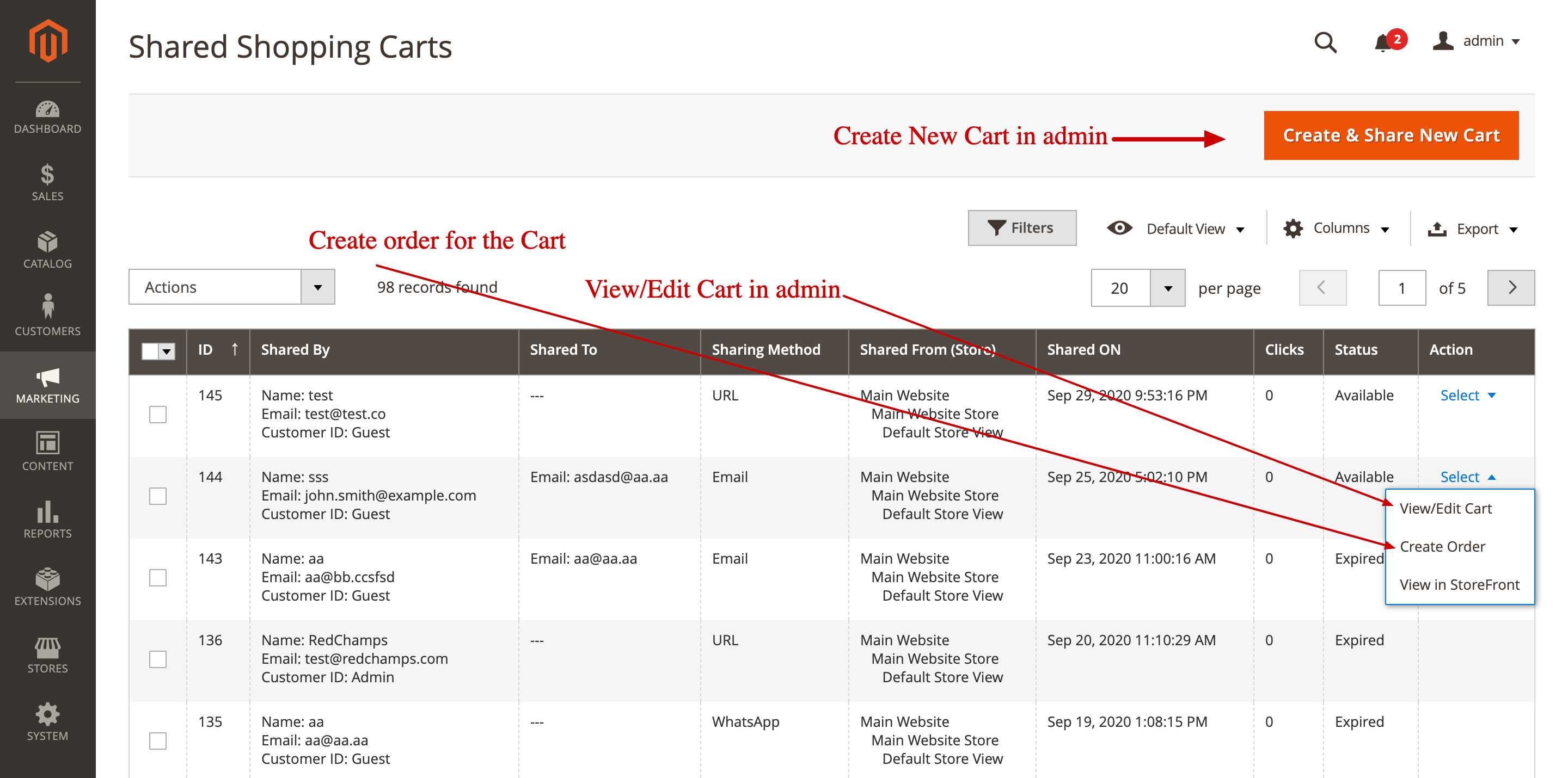 Shared Shopping Carts list in Magento Backend
